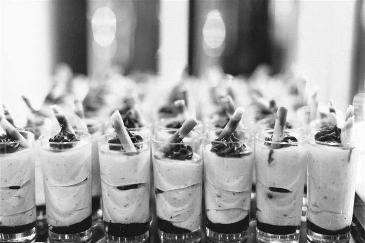yogurt parfait photo in black and white