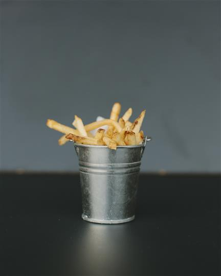 french fries in a tin