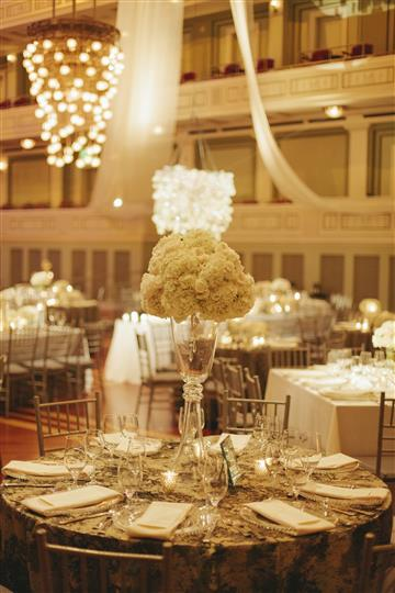 a closeup of the white rose centerpiece on a table