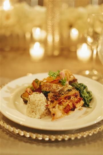 grilled fish with white rice and broccoli