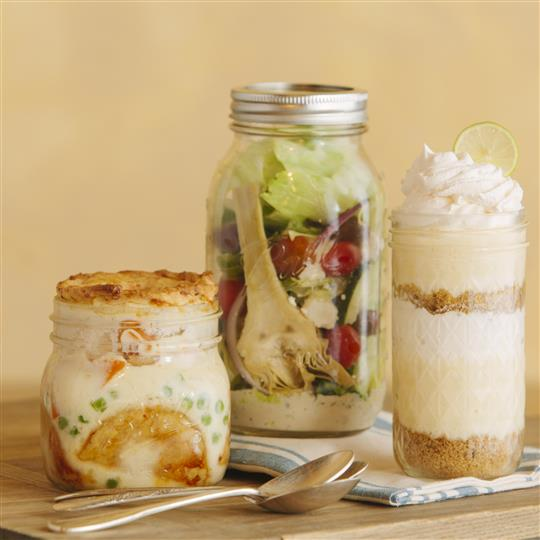 Mason jars with food