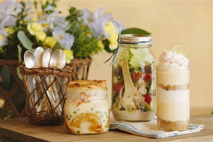 Food in mason jars