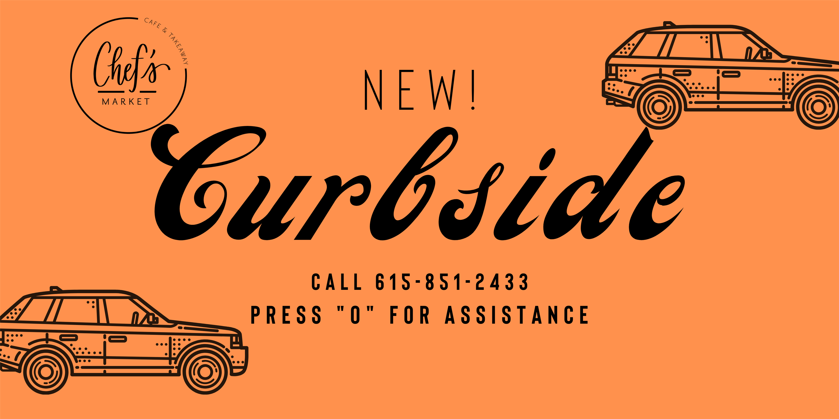 "new! curbside call 615-851-2433 press ""0"" for assistance"