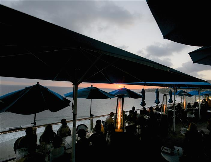 PAtio over the sea water during sunset