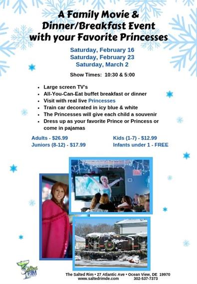 Family Dinner & Movie Event; Sat Feb 16, 23rd, march 2nd. Large screen tv's, AUCE buffet breakfast or dinner. Visit with the real live Anna & Elsa