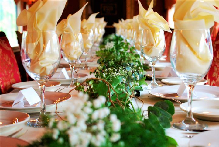 table setup for a large catered party