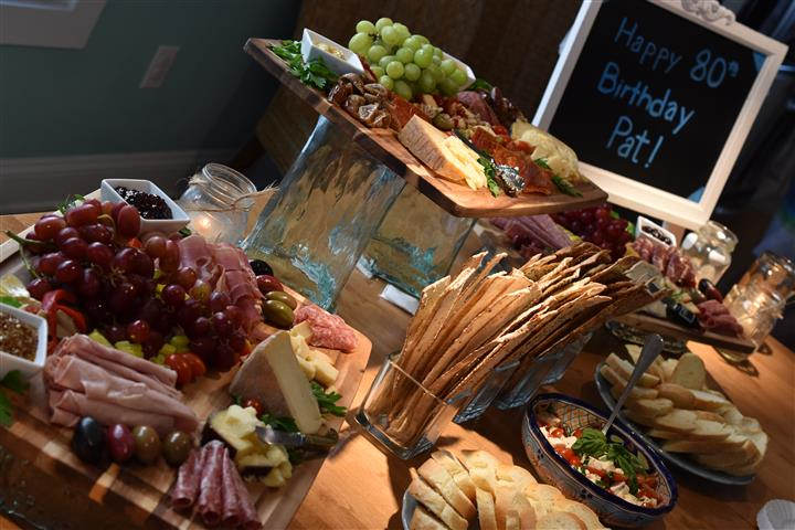 charcuterie table setup for a party