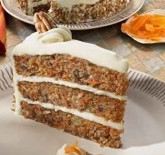 Carrot cake. Three layers loaded with shredded carrots, crushed pineapple and pecan pieces. Finished with real cream cheese icing.