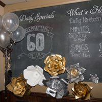 60th anniversary chalkboard sign