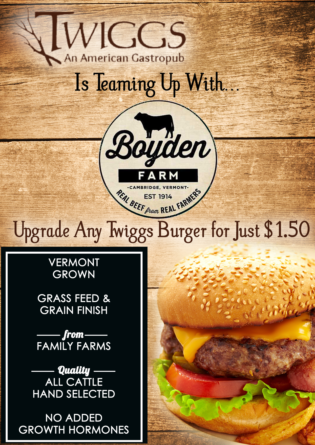 We're teaming up with Boyden Farm! Upgrade any Twiggs Burger for Just $1.50