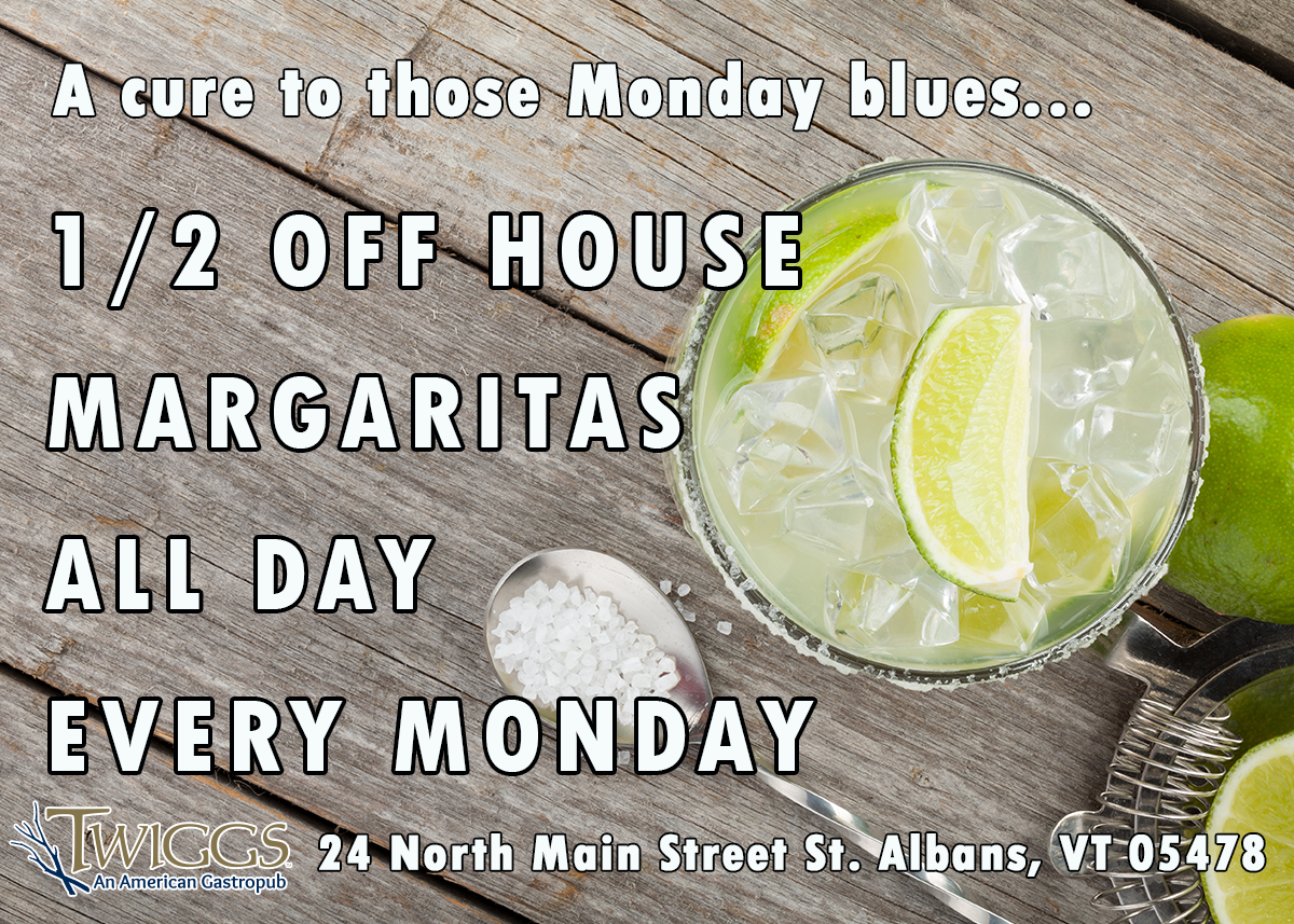 A cure to those Monday Blues. 1/2 Off House Margaritas All Day Every Monday
