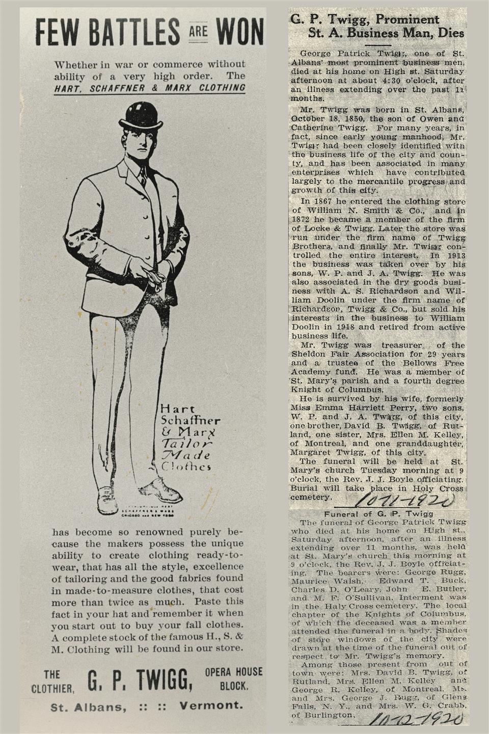 an old twiggs advertisement, and a newspaper clipping announcing the death of twigg's founder
