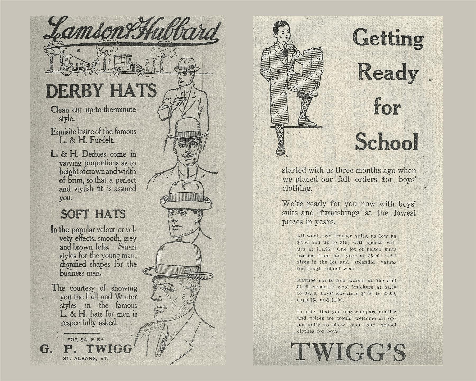 an old twiggs advertisement, showcasing derby hats and back-to-school clothing