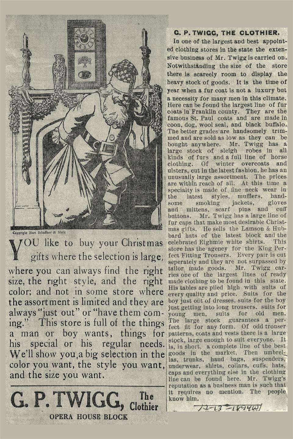 a christmas-themed newspaper advertisement for twiggs, featuring santa claus
