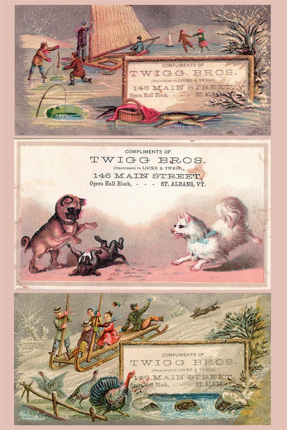 an old advertisement for twiggs, featuring illustrations of various dogs