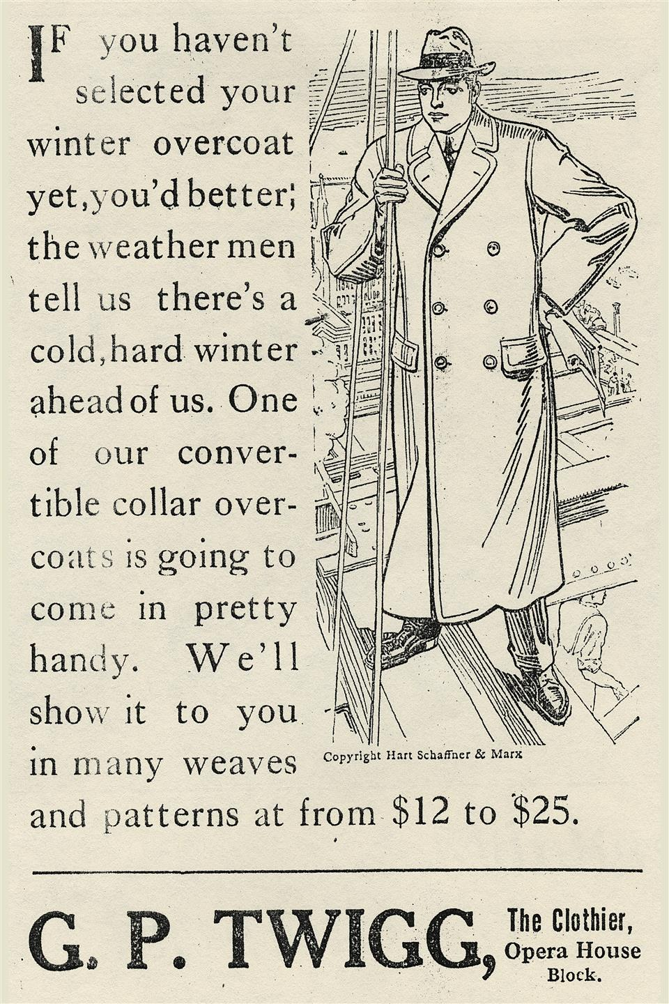 an old newspaper advertisement for twiggs coats