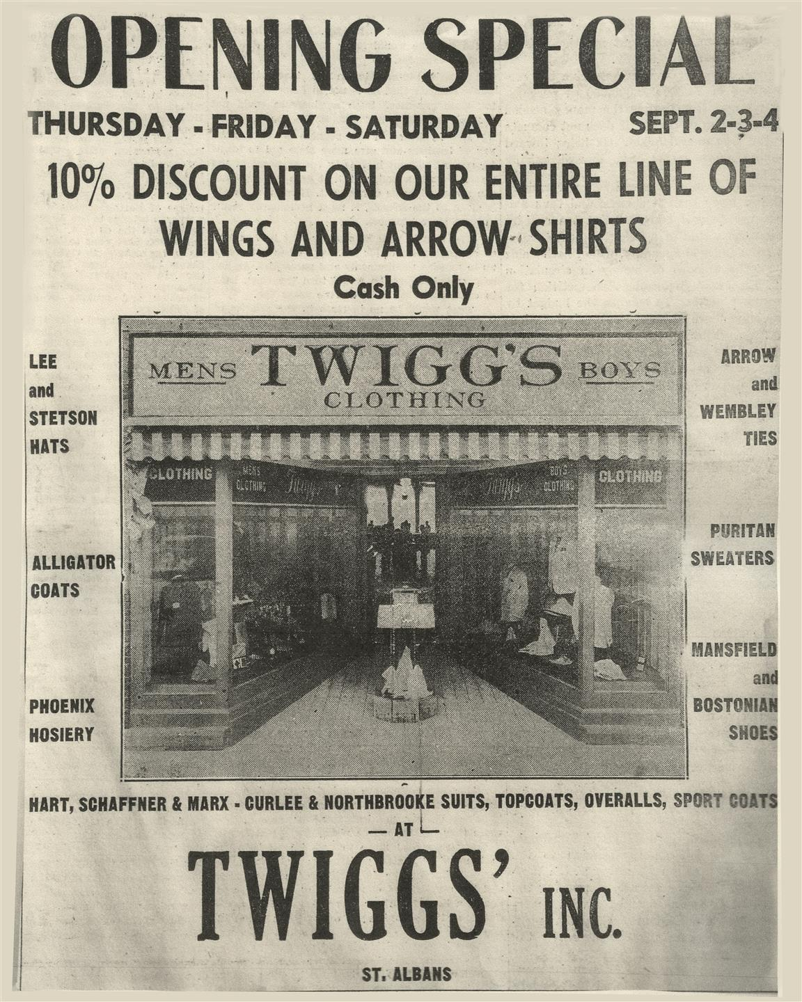an old newspaper advertisement, with a coupon for twiggs