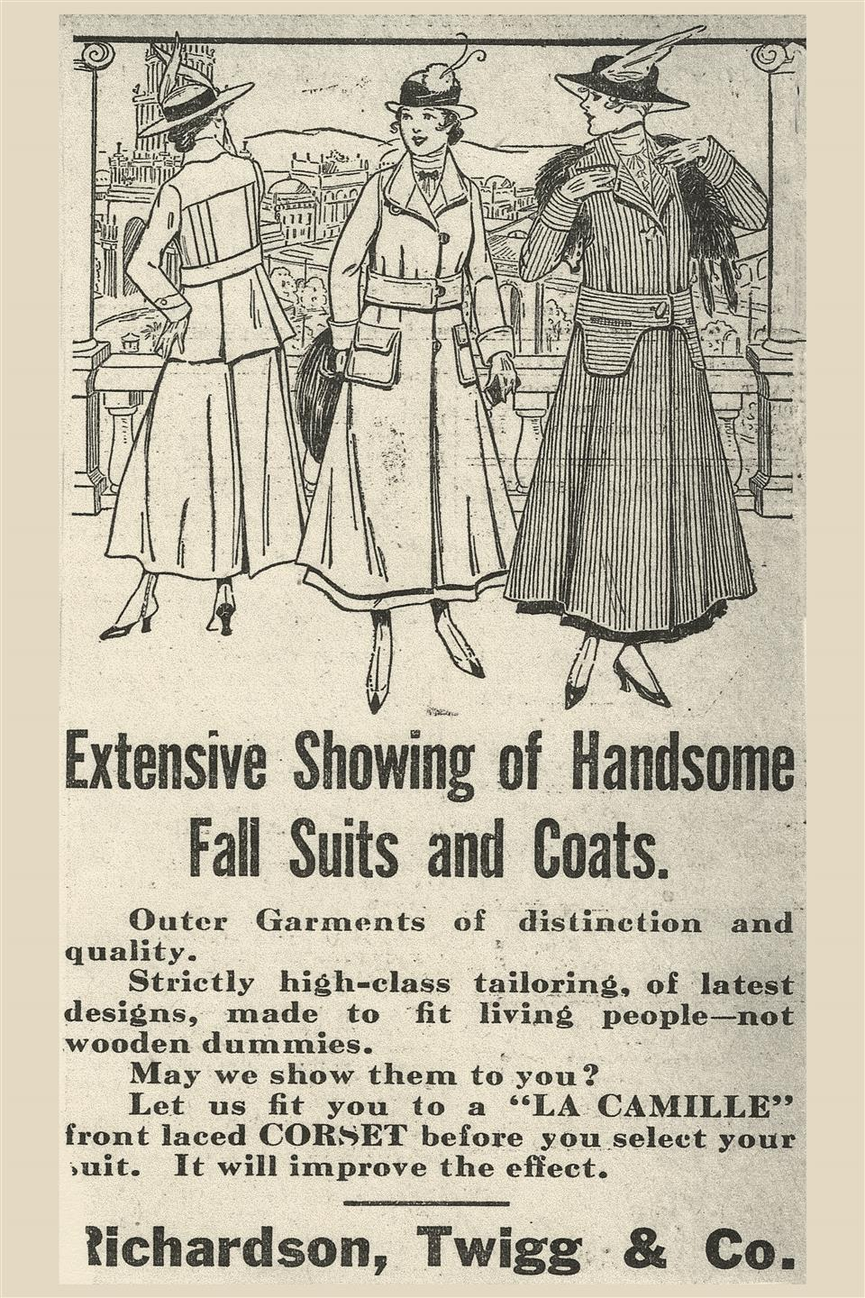 an old newspaper advertisement for fall clothes