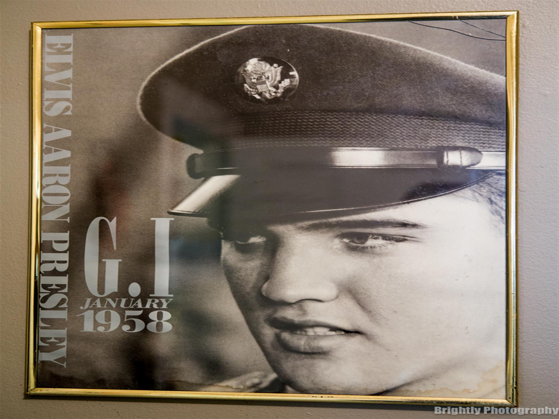 Elvis Aaron Presley. G.I. January 1958 poster showing elvis wearing military hat