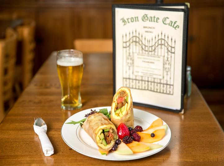 Wrap with slices of fruit to the side. And a glass of beer