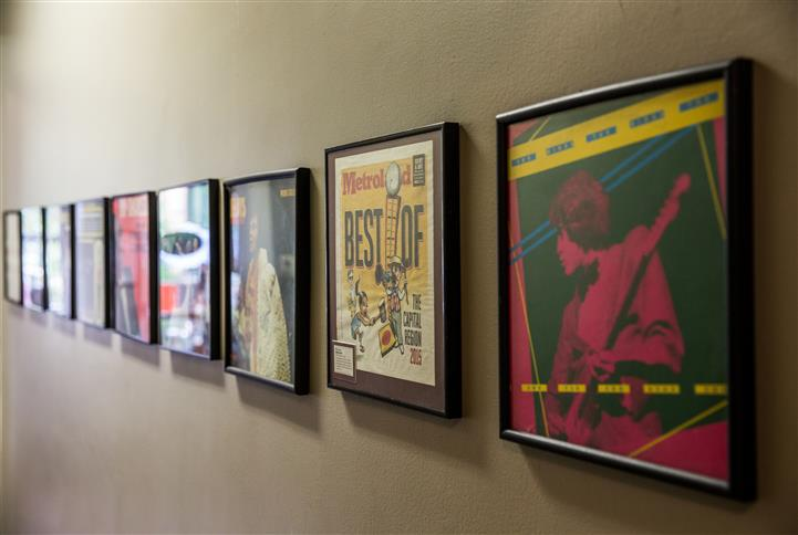 Wall filled with music covers