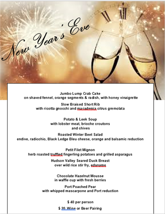 New Years Eve Menu