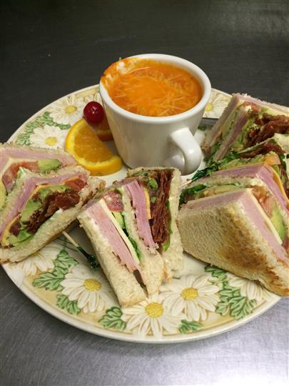 Small Sandwiches with Cup of Soup