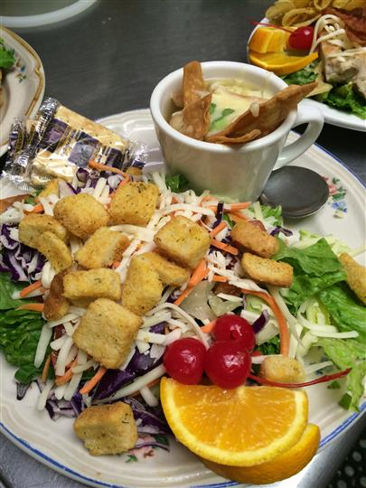 Side Salad topped with Croutons and a cup of Soup