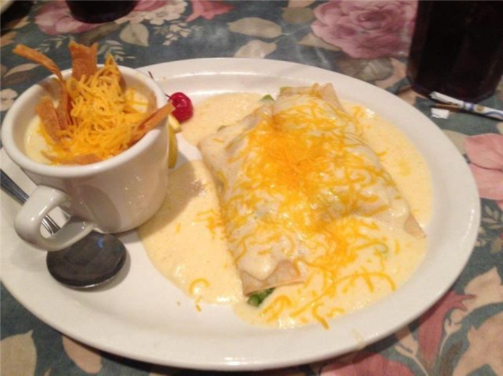 enchiladas and a side of soup