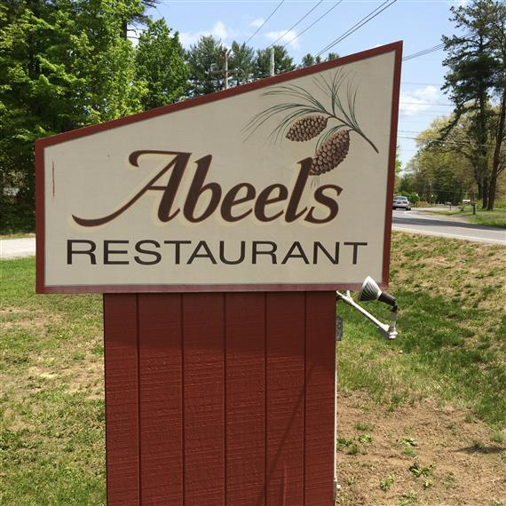 Wooden sign - Abeels Restaurant