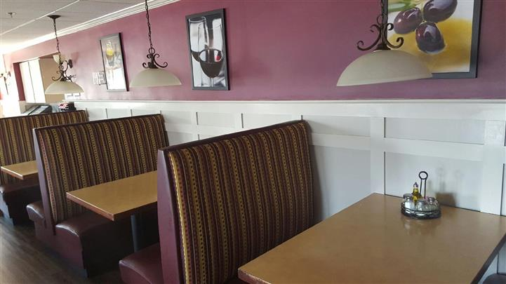 Interior shot of the restaurant tables
