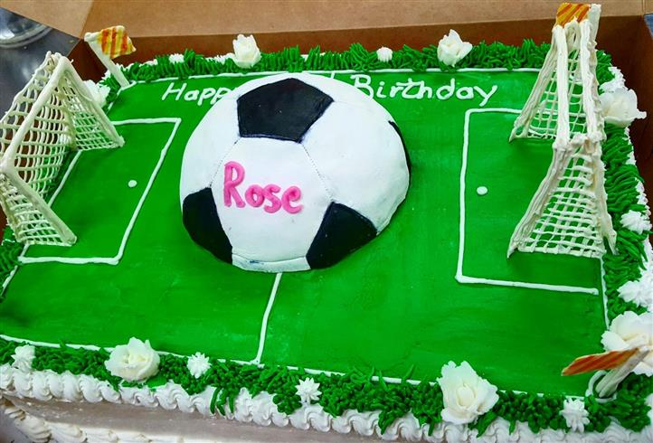 Rose 's football field happy birthday cake