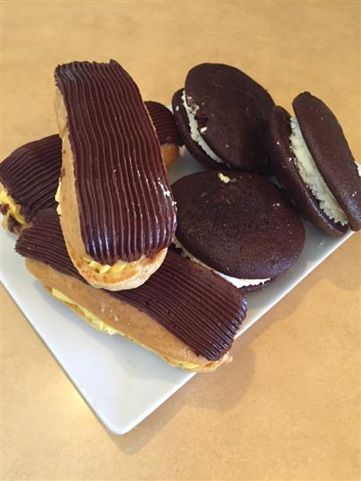 Eclairs and biscuits