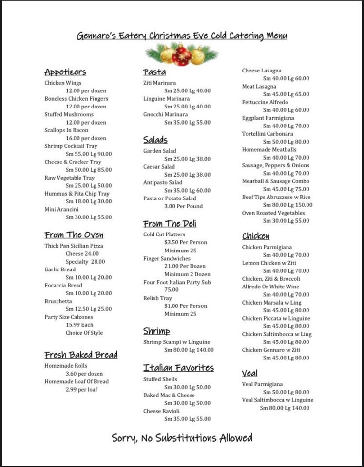 Christmas Eve Cold Catering Menu