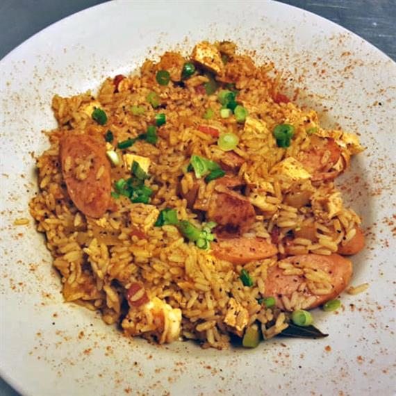 Seasoned Fried rice with sliced pork