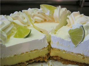 Three pieces of key lime pie
