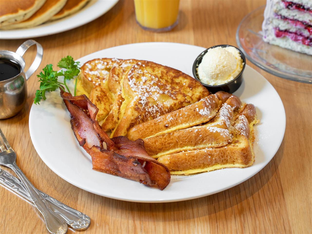 #8 Three Pieces of French Toast and Two Strips of Bacon