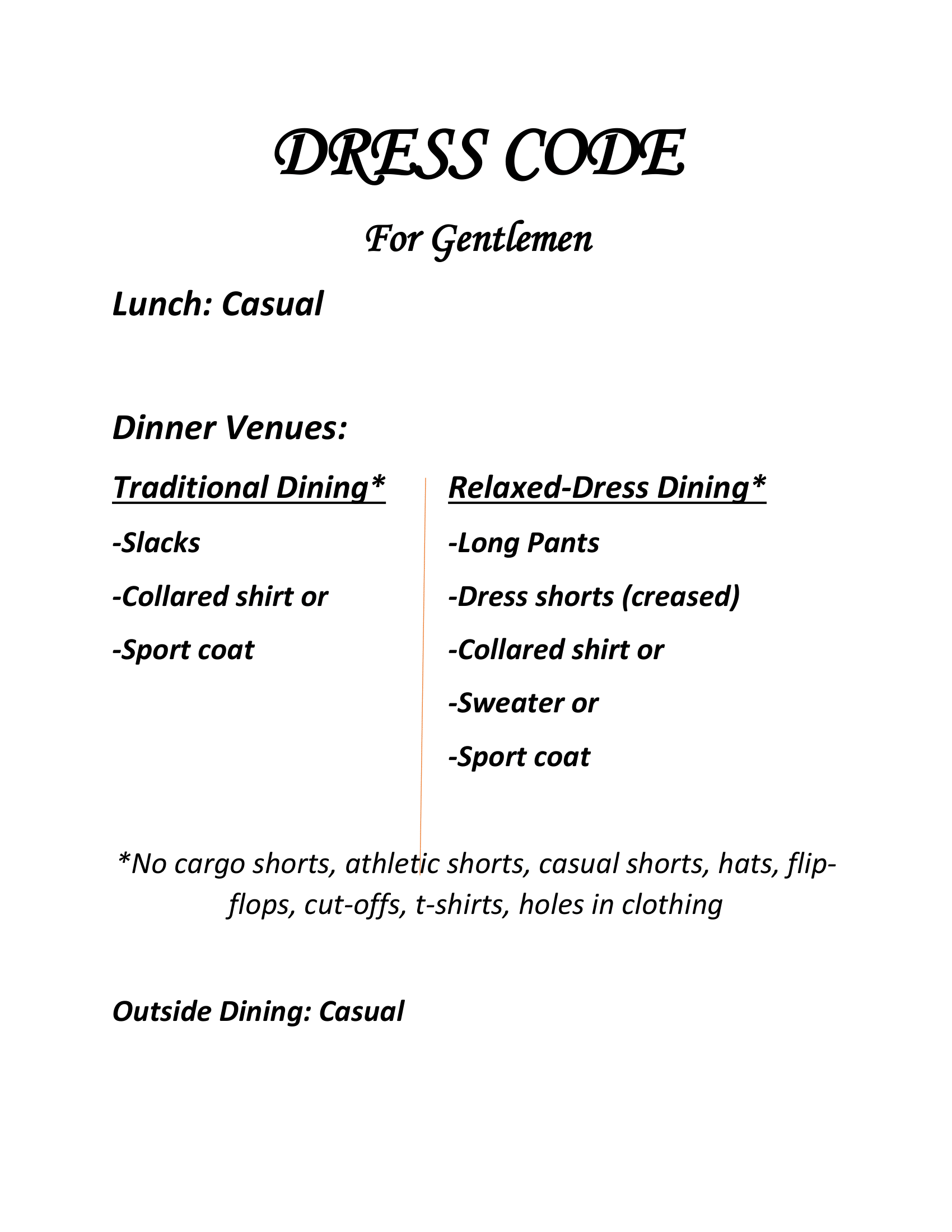 Dress Code for Gentlemen. Readable version above or clickable.