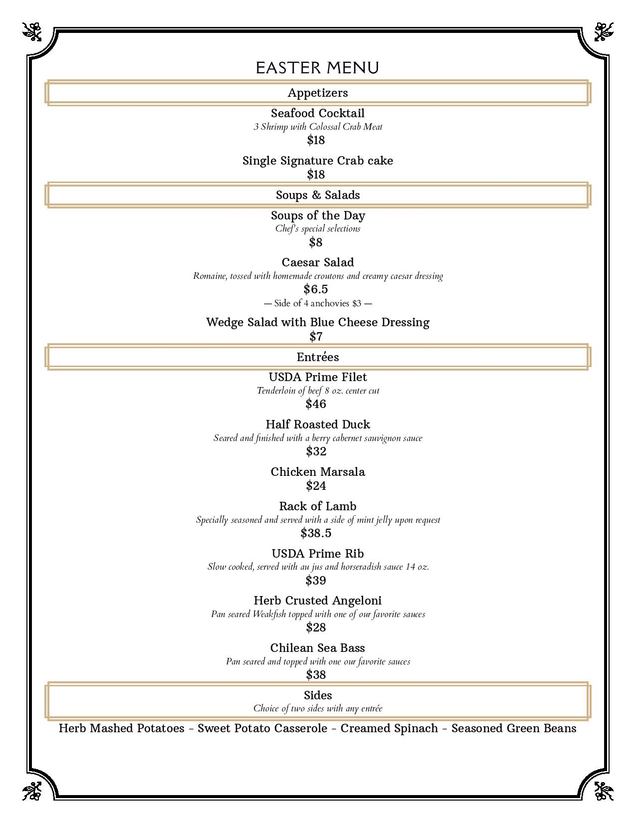The Rose Plantation - Easter Menu
