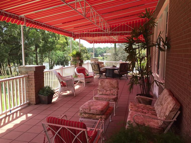 Outdoor patio with patio furniture