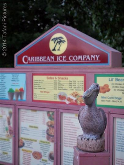 Caribbean Ice Co Sign with the menu