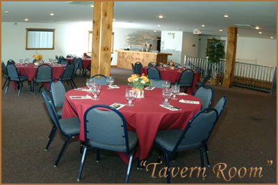 Inside the Tavern Room with tables set up