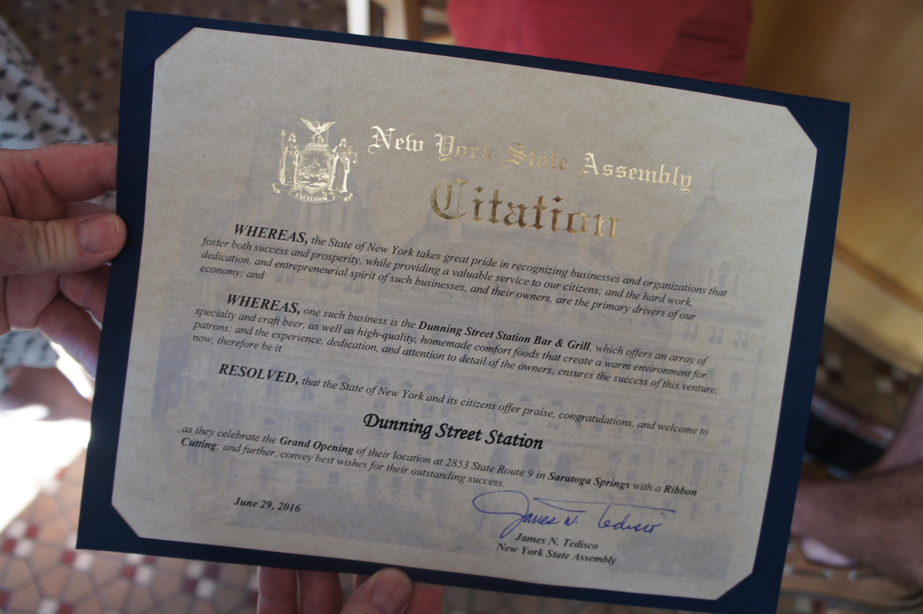 Photo of the New York state Assembly Citation certificate