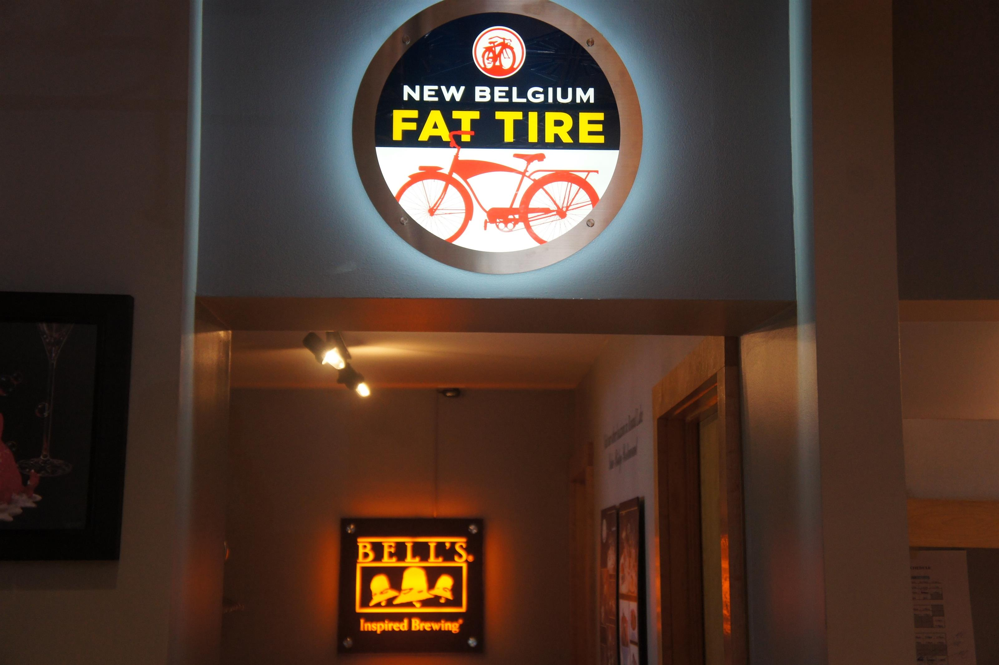 """New Belgium Fat Tire"" neon sign on the wall"