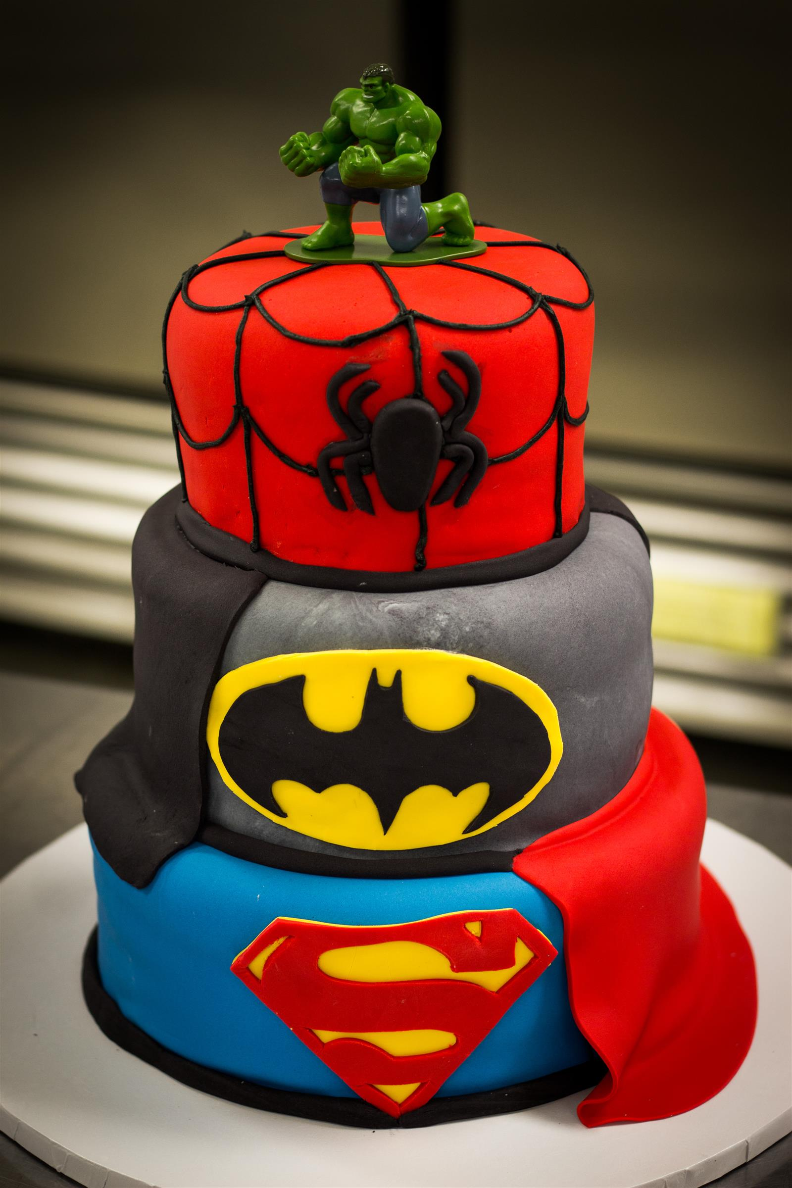 3 tier super hero cake