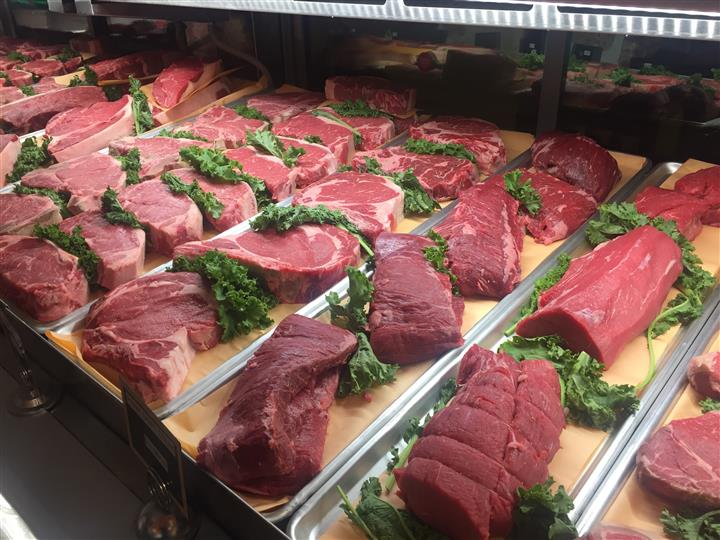 Rows of Raw Beef