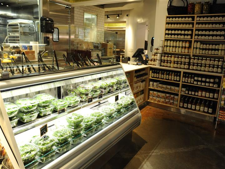 Counter area with salad