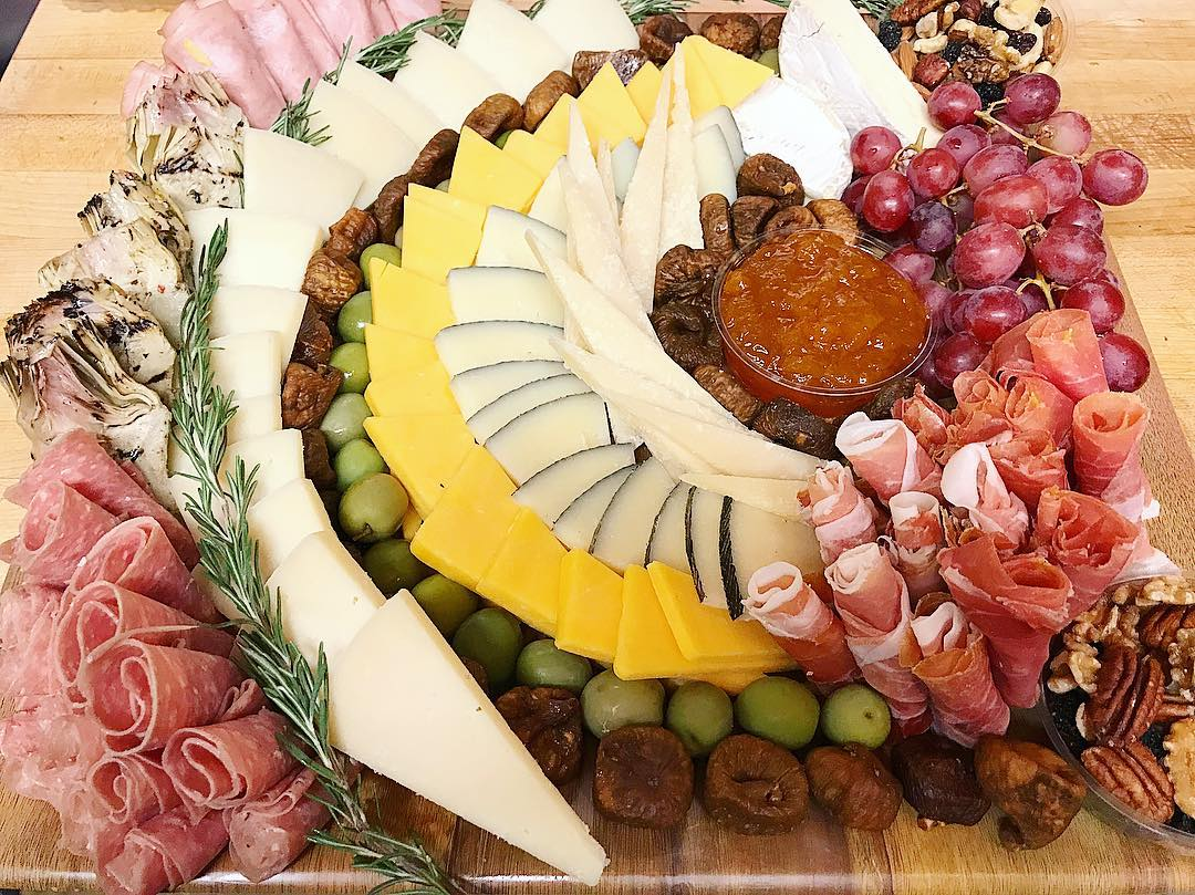 assorted meats and cheeses plate