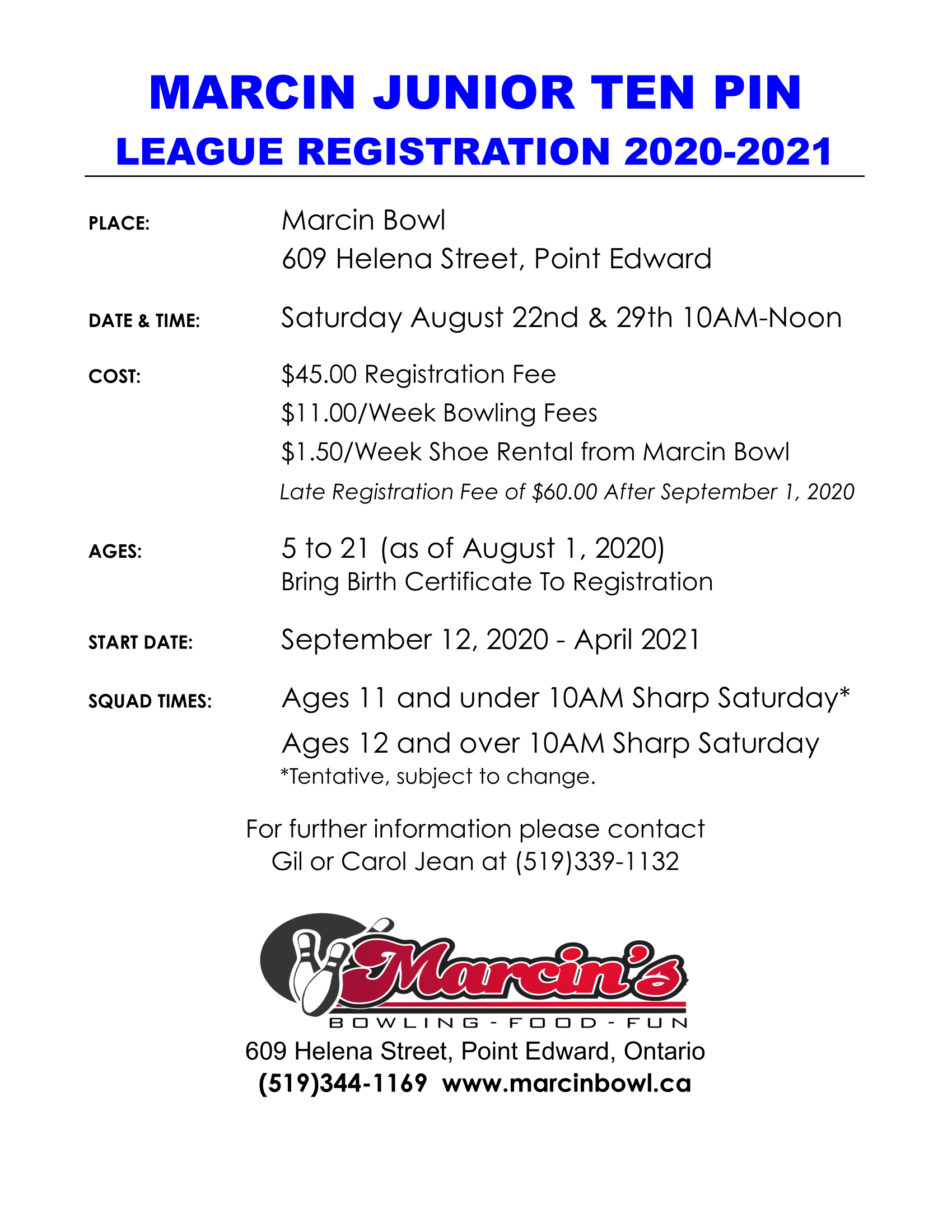 Marcin Junior Ten Pin league registration. Readable version linked above.