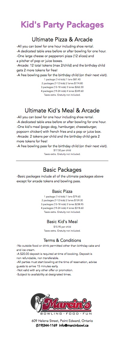 Kids Birthday Packages